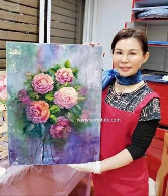 雨揚老師跨界藝術 吉祥花卉畫展迎新春