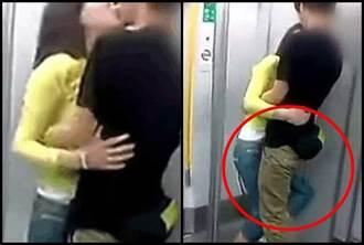 情侶車廂內激吻發出嬌嗔聲 下面還前後擺動