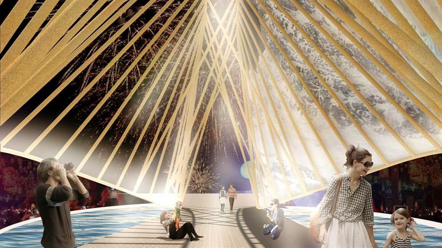 里山禾樂燈區的「觀山入林」藝術燈組。(模擬圖:台中市府提供/盧金足台中傳真)