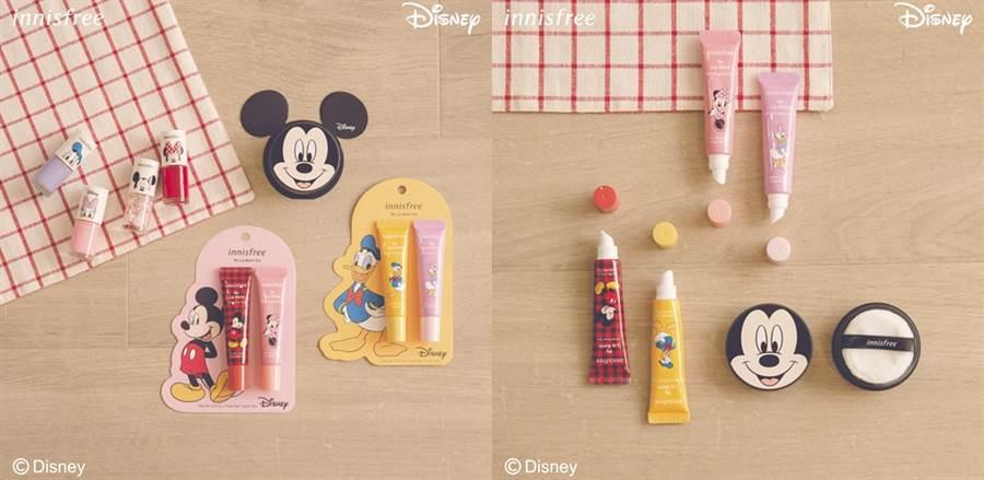 innisfree 2020迪士尼限定系列的彩妝部分包含蜜粉、指甲油、潤彩護唇膏。(圖/品牌提供)