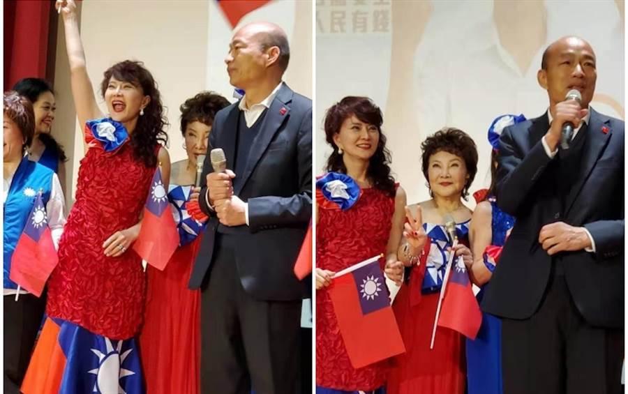 鄧美芳昨穿國旗裝出席歸國僑胞挺韓大會。(鄧美芳提供)
