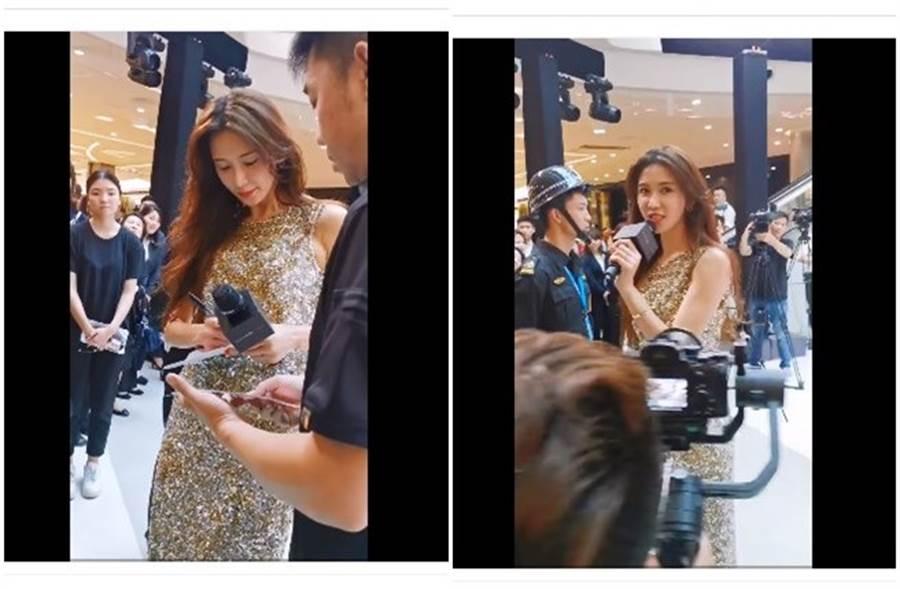 林志玲今日出席活動,親切幫粉絲簽名。(取自微博)