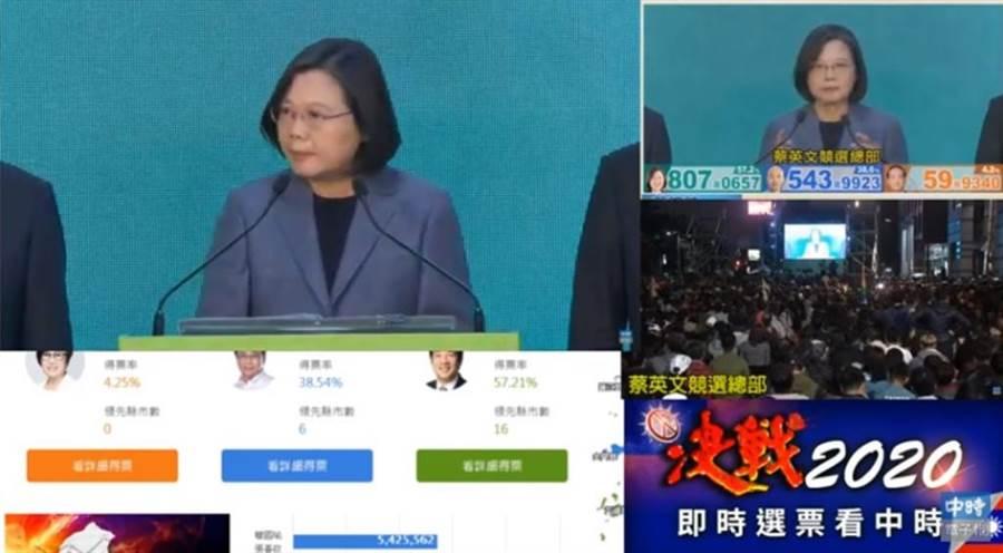 總統蔡英文舉行國際記者會。(翻攝中時電子報影音)