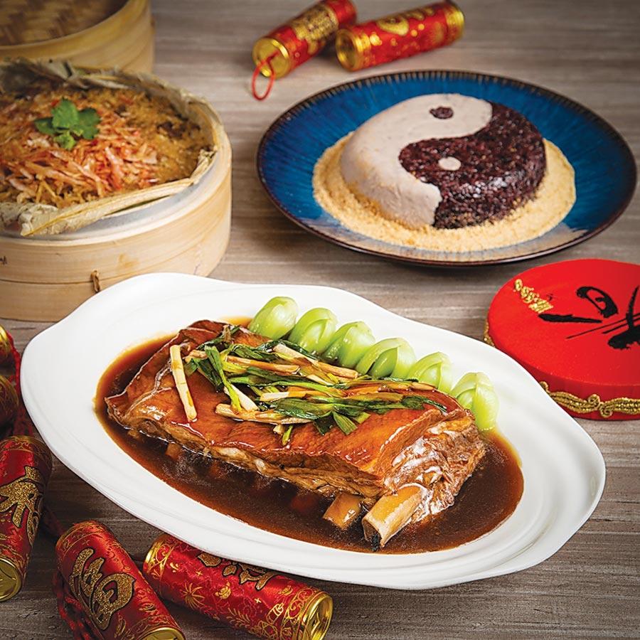 香格里拉台北遠東國際大飯店〈上海醉月樓〉推出的〈蔥燒腩排〉也很澎湃。圖/香格里拉台北遠東國際大飯店