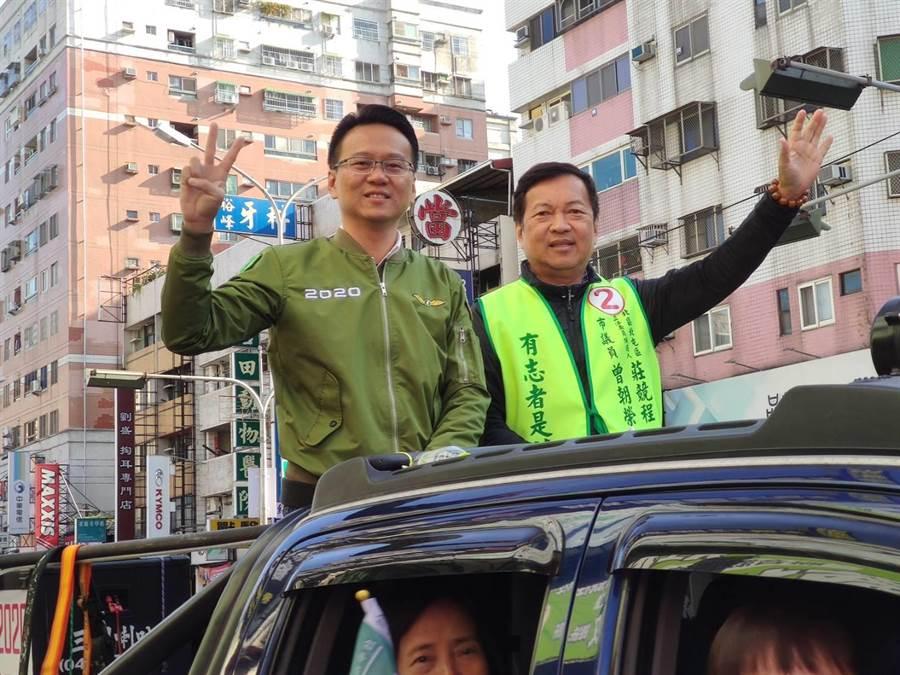 台中市民進黨莊競程(圖左),12日上午起展開為期3天謝票行程。(張妍溱攝)