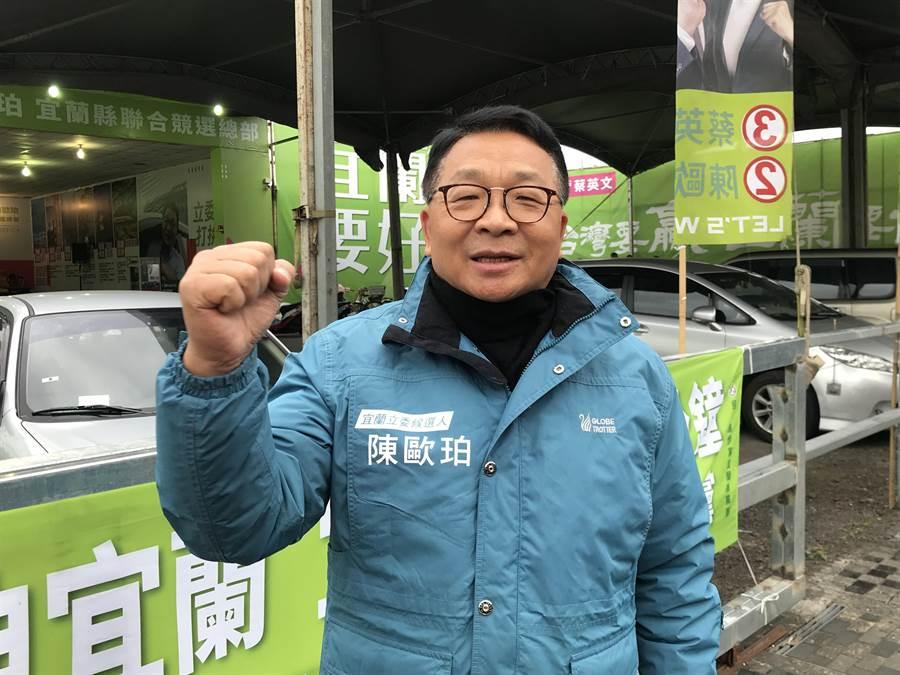 民進黨立委陳歐珀順利連任成功,他12日表示,未來4年希望台美能建交、與中國大陸當朋友。(胡健森攝)