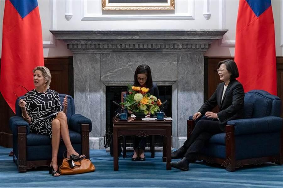 總統蔡英文今日接見華府智庫「美國企業研究院」(AEI)民主及印太戰略訪問團。圖/總統府提供