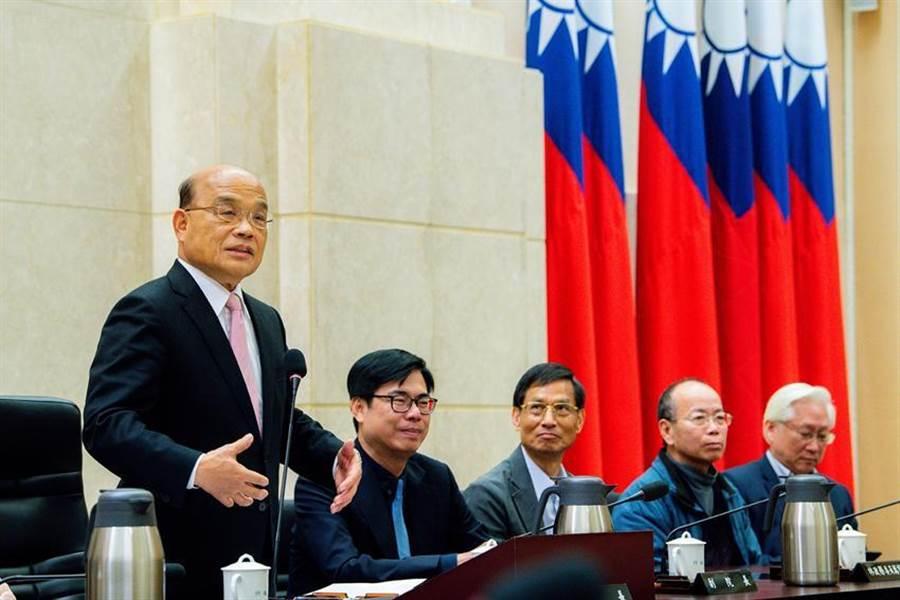 行政院長蘇貞昌率內閣總辭,獲總統蔡英文留任。圖/行政院提供
