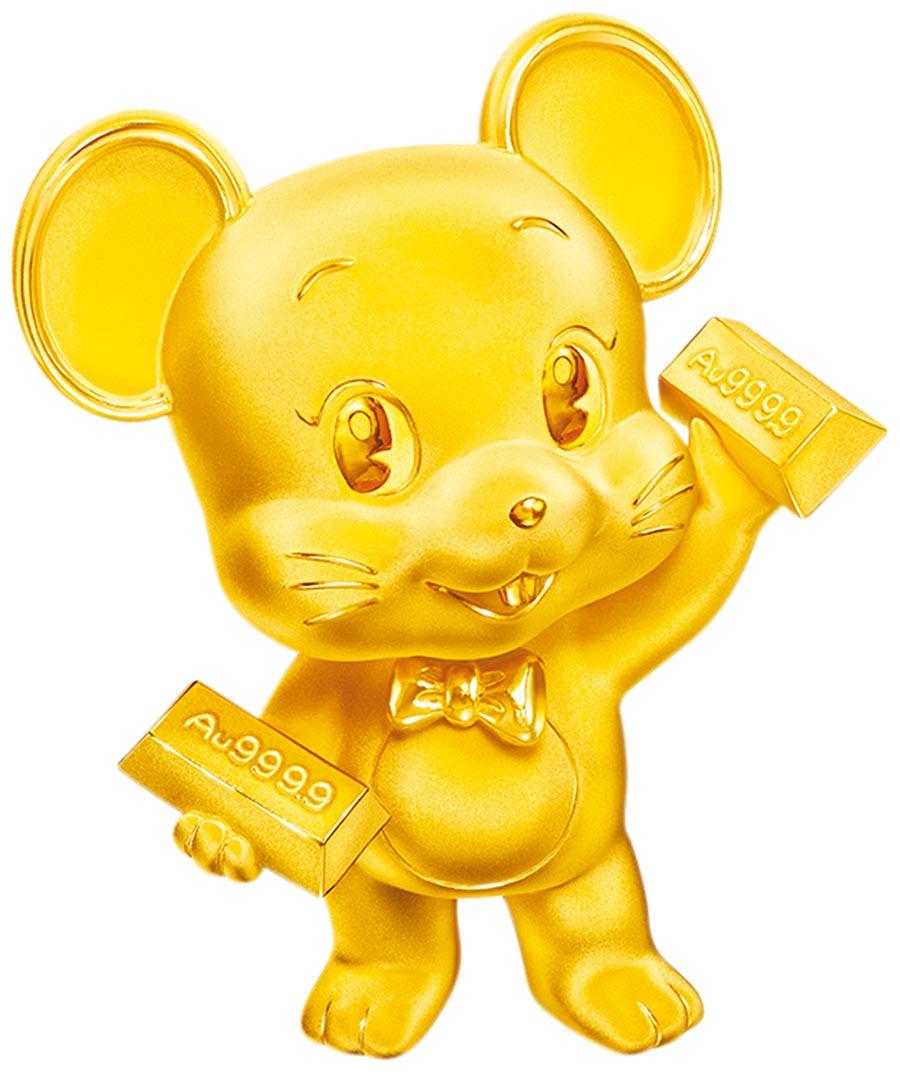 鼠年應景擺飾,SOGO忠孝館周大福財源滾滾鼠年純金擺件,黃金重約0.3兩起,約3萬2800元起。(SOGO提供)