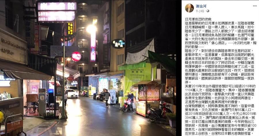 謝金河撰寫「日月潭哀怨的夜晚」一文,並附上數張選舉前的日月潭水社碼頭夜景。(擷取自謝金河臉書)