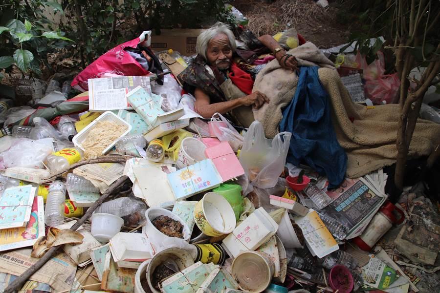 老翁成天與垃圾堆生活在一起,令人看了相當鼻酸。(洪浩軒攝)