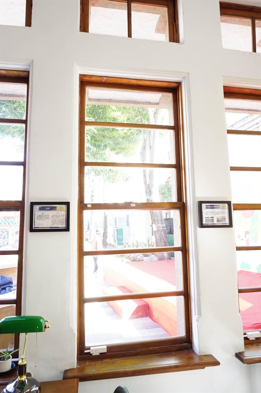 頂街派出所修復日據時期設計的上下平衡窗。(王文吉攝)