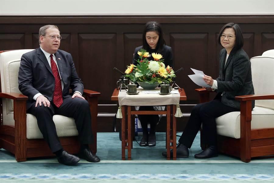 總統蔡英文(右)14日在總統府接見戰略暨國際研究中心(CSIS)訪問團致詞時指出,美國是台灣最重要的戰略夥伴,感謝美國長期的支持,未來台灣也會跟美國繼續強化雙邊夥伴關係。圖左為訪團成員前美國駐港澳總領事唐偉康(Kurt Tong)。(中央社)