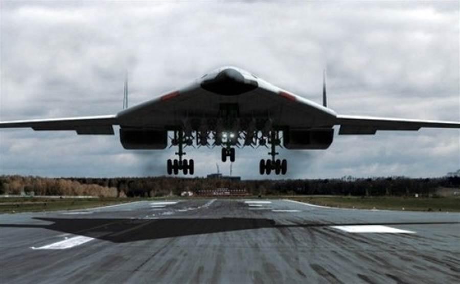俄羅斯國防部與圖波列夫設計局已簽訂合約,開始製造第5代隱形戰略轟炸機的原型機,2023年開始測試。圖為PAK-DA的想像圖。(圖/俄羅斯航空網站)