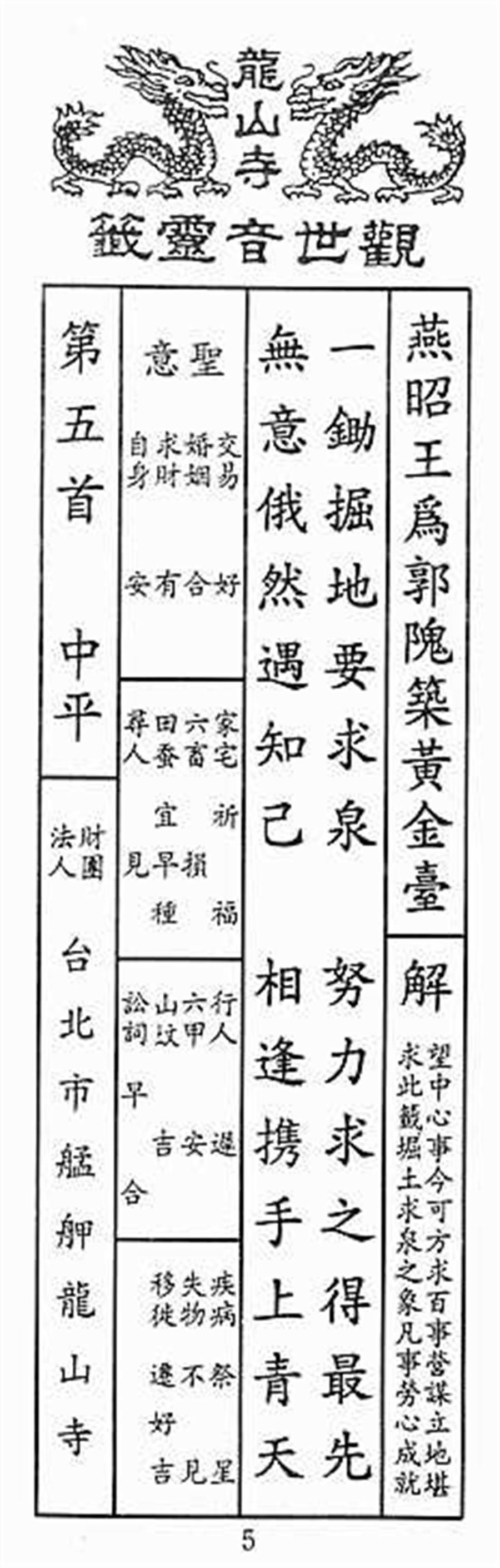 觀音佛祖第5籤「燕昭王為郭隗築黃金臺」。(江嘉葉提供)