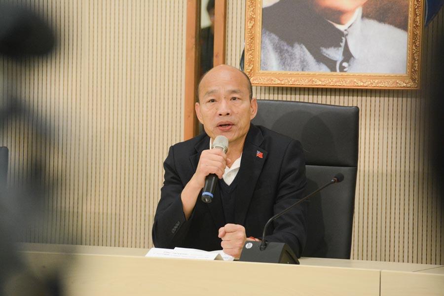 高雄市長韓國瑜13日銷假上班,上午即開記者會回答媒體提問。(林宏聰攝)