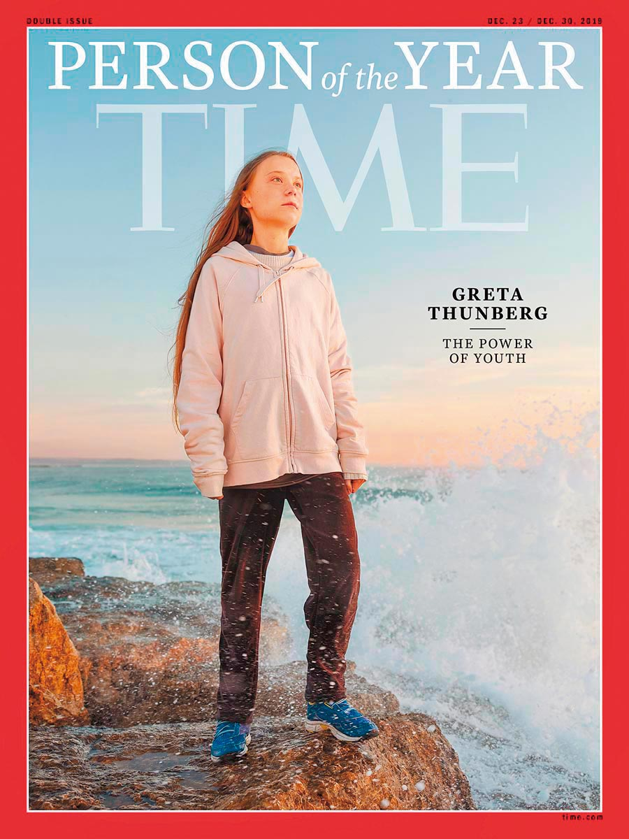 美國《時代》推選全球氣候罷課運動發起人、瑞典16歲少女桑柏格為該雜誌2019年年度風雲人物。(美聯社)