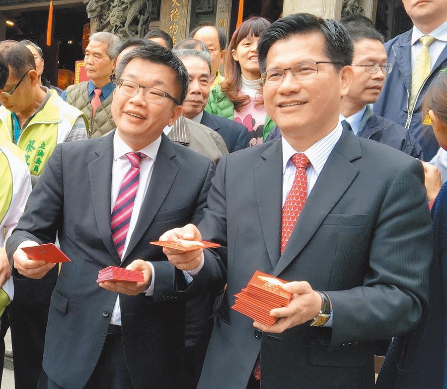 立法院副院長蔡其昌(左)是否會在下屆台中市長選舉,再與林佳龍(右)初選交手,成為政壇焦點。(盧金足攝)