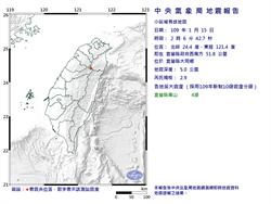 宜蘭規模2.9地震 最大震度大同鄉南山村4級