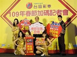 台彩過年加碼總獎金8億元 大樂透小年夜起共加碼360組100萬元