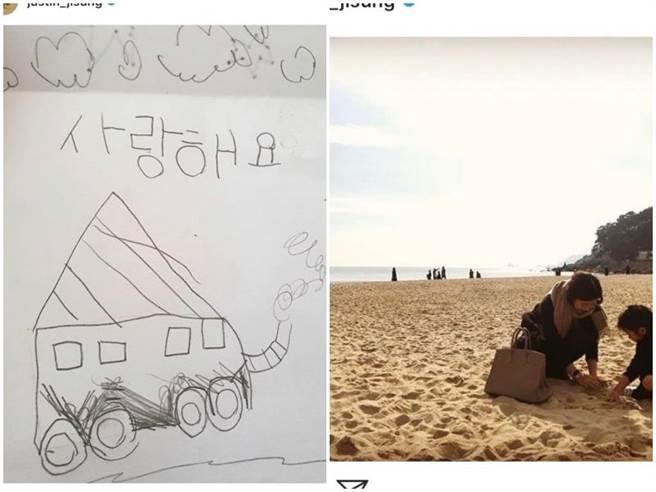 池晟經常在IG上PO出女兒的塗鴉畫作。