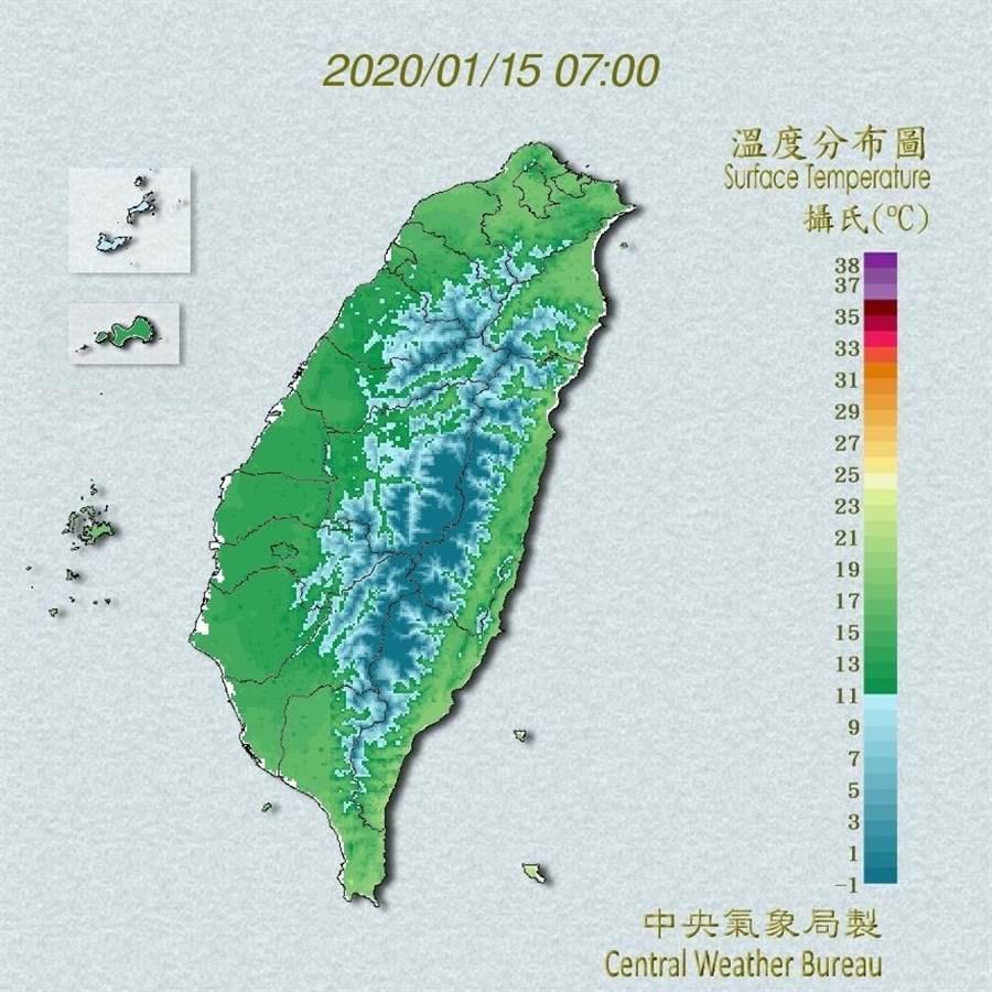 15日晨最新氣溫分布圖。(圖擷自氣象局)