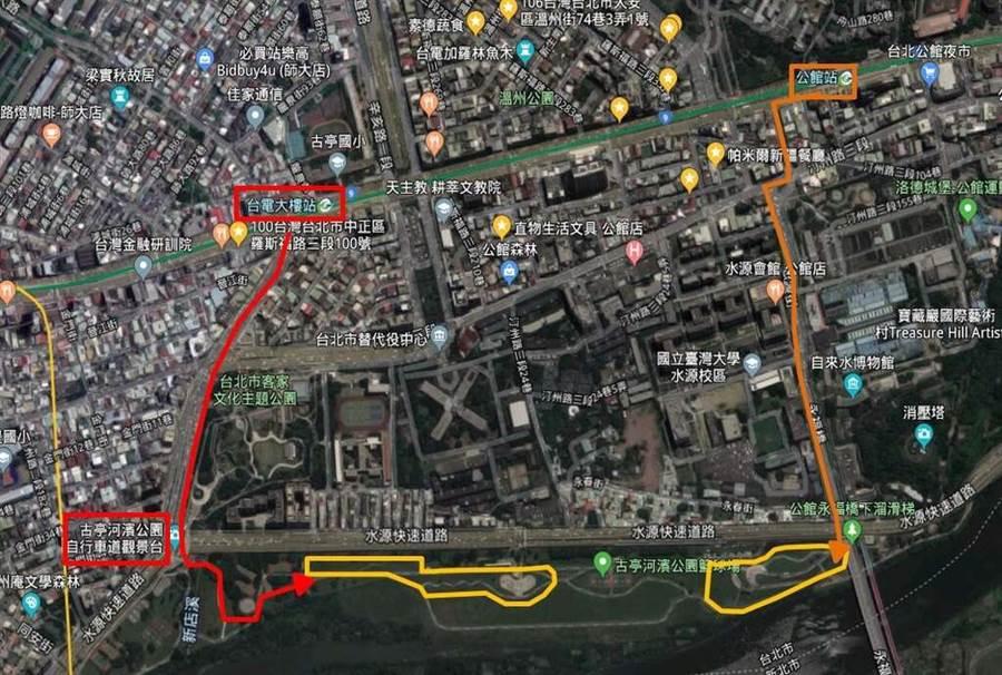 《觀山河濱公園花海》怎麼走。(圖取自台北旅遊網)