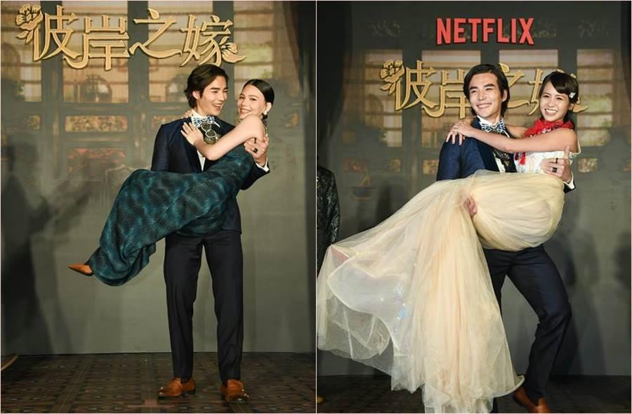 Netflix新戲《彼岸之嫁》華人男星林路迪爆肌猛舉黃姵嘉、紀培慧。(圖/Netflix提供)