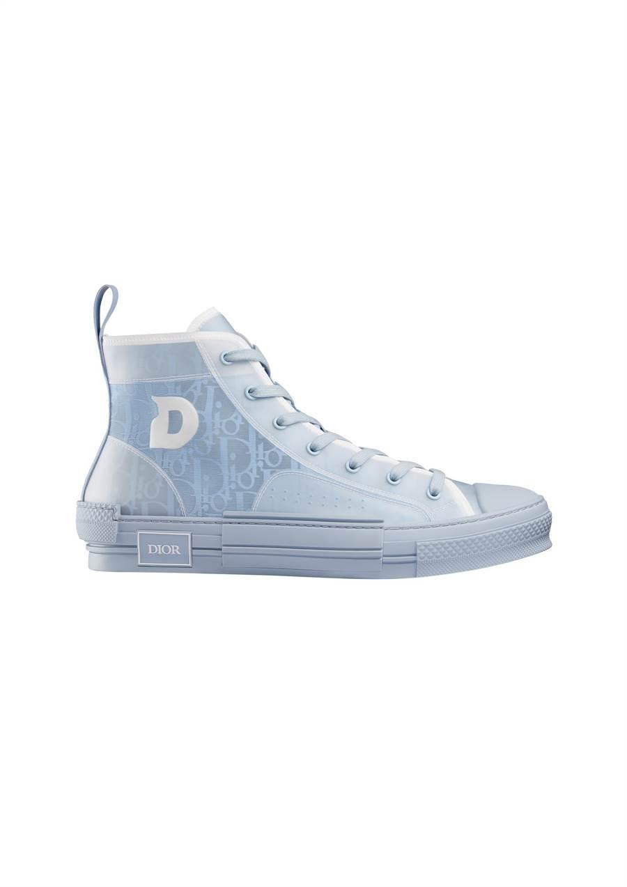 B23 DIOR AND DANIEL ARSHAM 淺藍色OBLIQUE帆布高筒休閒鞋,3萬9000元。(Dior提供)