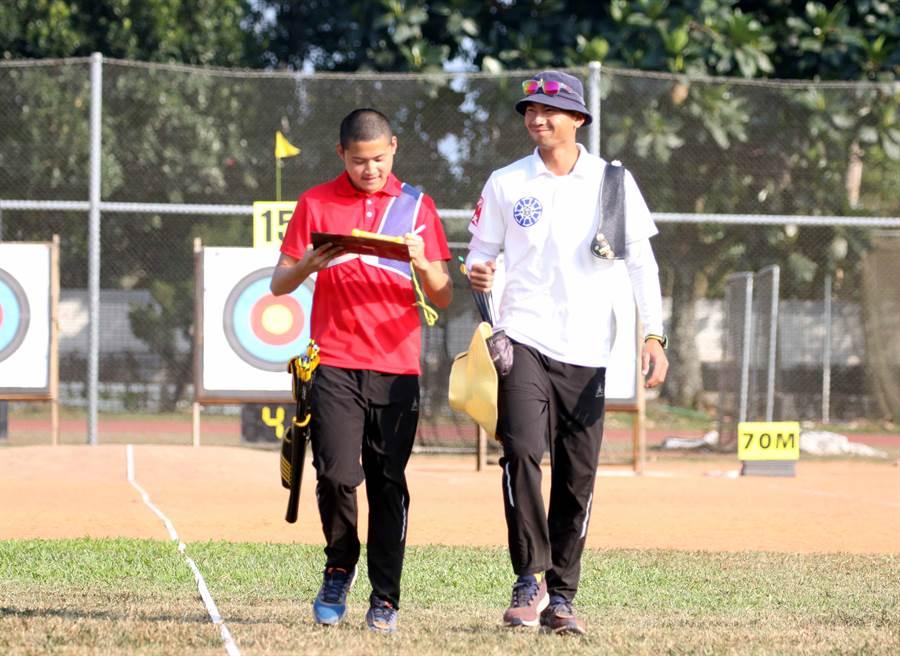 湯智鈞(左)和魏均珩是目前東京奧運射箭國手選拔賽積分前兩名好手。(中華民國射箭協會提供/陳筱琳傳真)