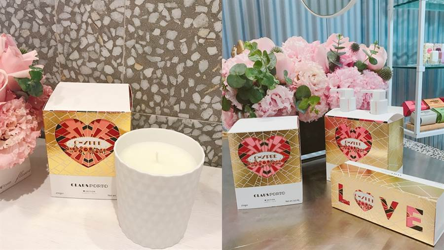 菱紋白瓷香氛蠟燭Heart Edition、LOVE馬卡龍香皂禮盒Heart Edition、波爾多之夜身體護理二重奏Heart Edition。(圖/邱映慈攝影)