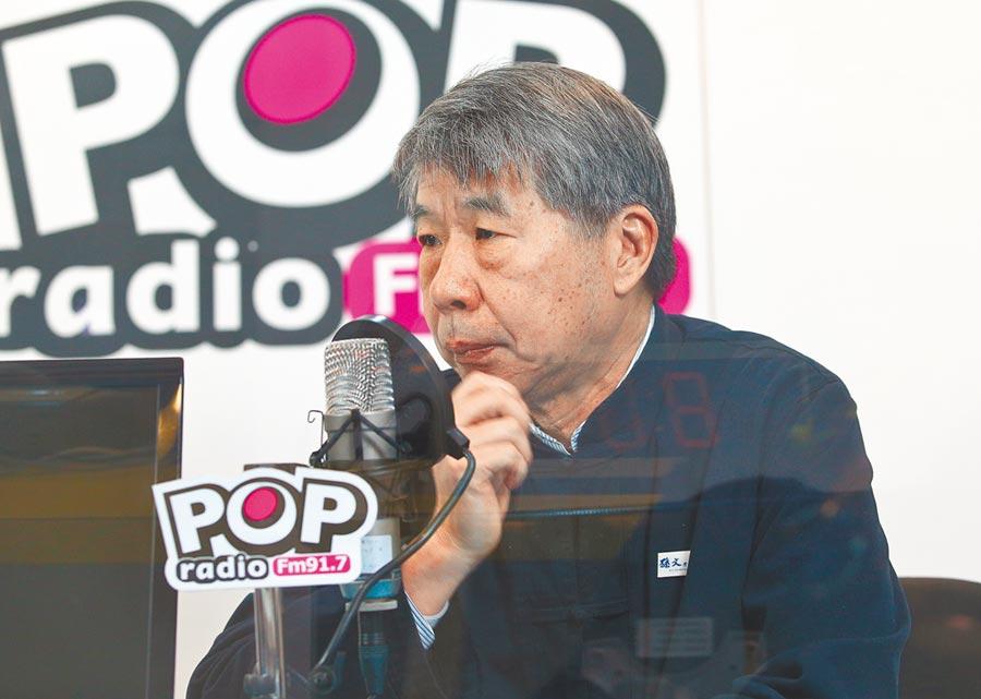 台大政治系教授張亞中宣布將參選國民黨黨主席,圖為14日接受廣播專訪。(中央社)