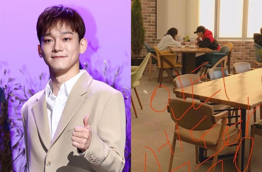 網傳出Chen和女友約會照。(圖/達志影像;翻攝自新浪韓娛微博)