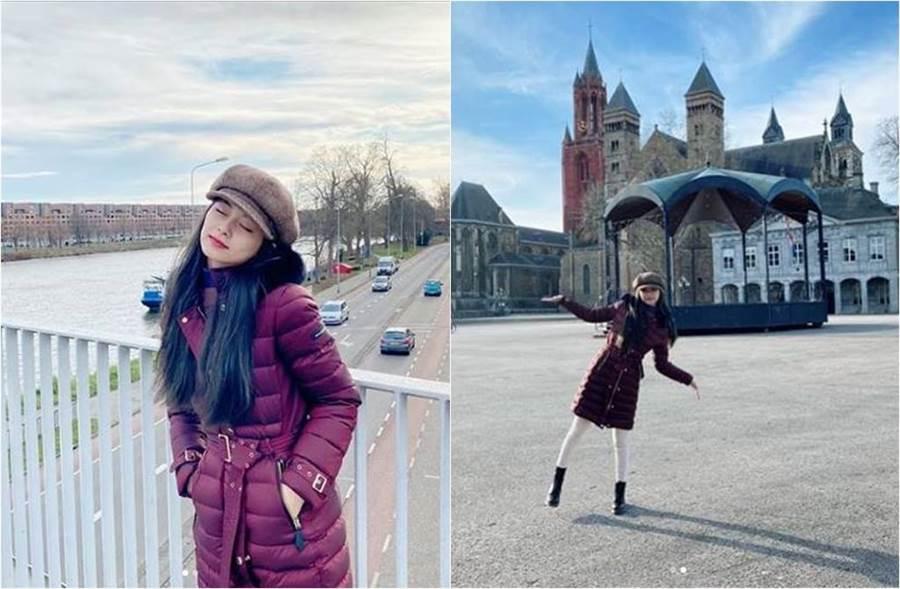 儘管子瑜穿長版羽絨外套,全身包緊緊,但仍藏不住她的纖腰和一雙細長鉛筆腿。(圖/取材自TWICE Instagram)
