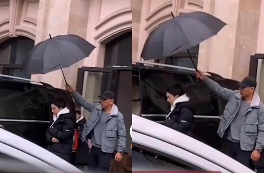 趙麗穎被拍雨天仍在趕拍戲。(圖/取自新浪娛樂)