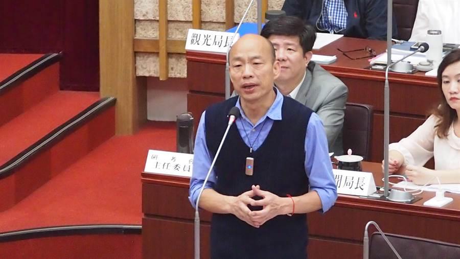 高雄巿長韓國瑜4月將重返高雄巿議會。圖為去年高雄巿議會總質詢。(曹明正攝)