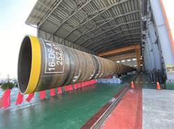 台電一期離岸風電示範風場 水下基礎首支鋼管樁完工