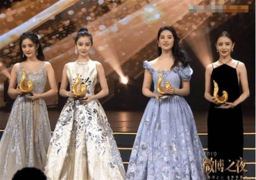 杨幂、Angelababy、刘亦菲、佟丽娅难得同框。(取自微博)