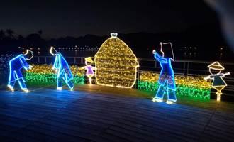 湖光映美濃  客家燈飾點亮美濃湖
