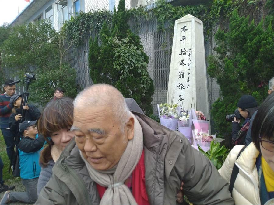 基隆太平輪海難71周年,不少遺族老耄仍堅持到場追思。(許家寧攝)