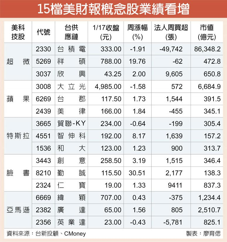 15檔美財報概念股業績看增
