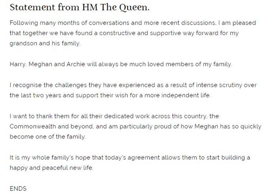 女王伊麗莎白二世的聲明充滿對哈利與梅根一家的支持與理解。(圖/擷取自白金漢宮官網)