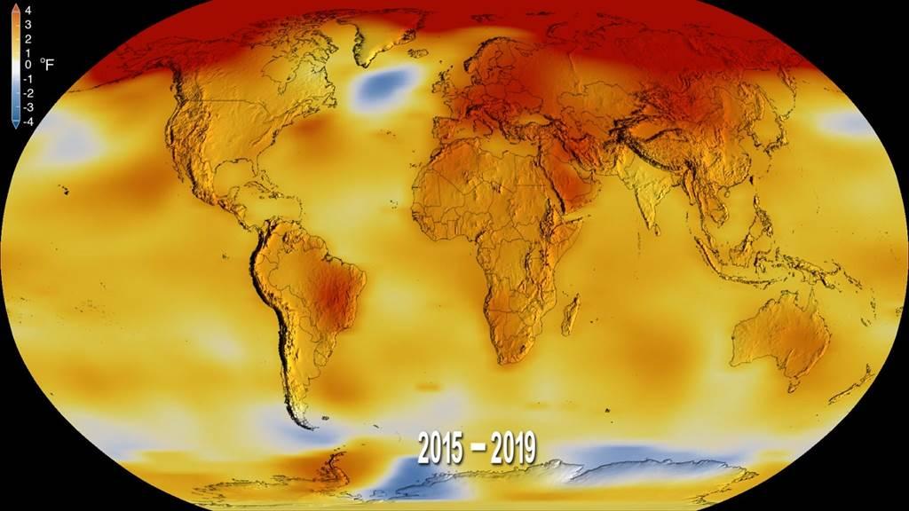 2015~2019年,是有紀錄以來最熱的時期,也導致全球各地愈發常見的氣候災難,包括更強的風暴、強降雨、乾旱、熱浪。(圖/NOAA)