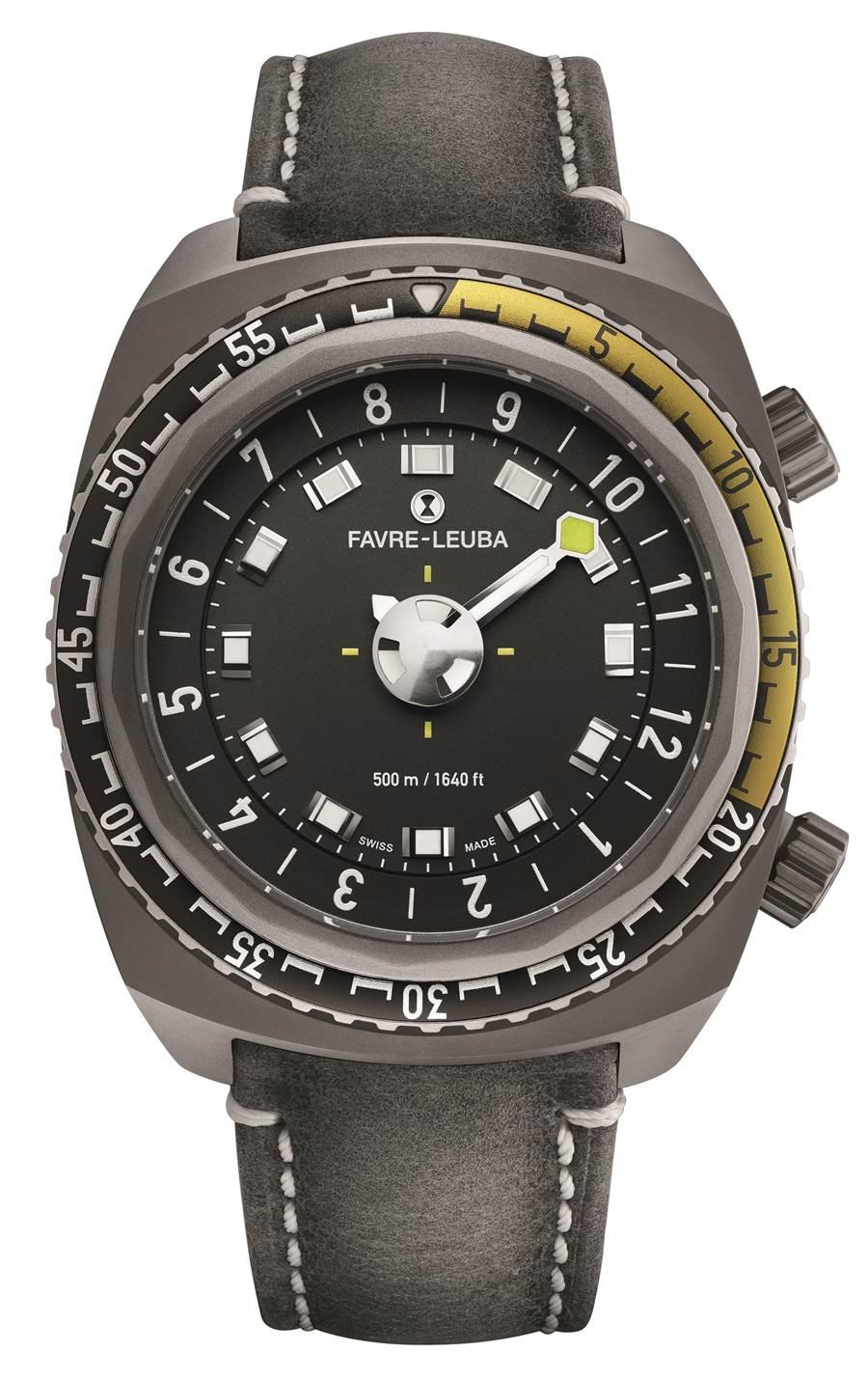 域峰表Raider Harpoon自動上鍊腕表,單指針時間顯示,小秒盤,日期顯示,防水達500米,14萬5000元。(Favre-Leuba提供)