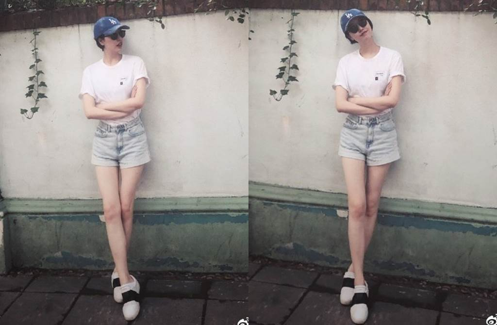 李亞鵬女友Susie身材高挑有大長腿。(圖/翻攝自Susie_Wuuuu微博)