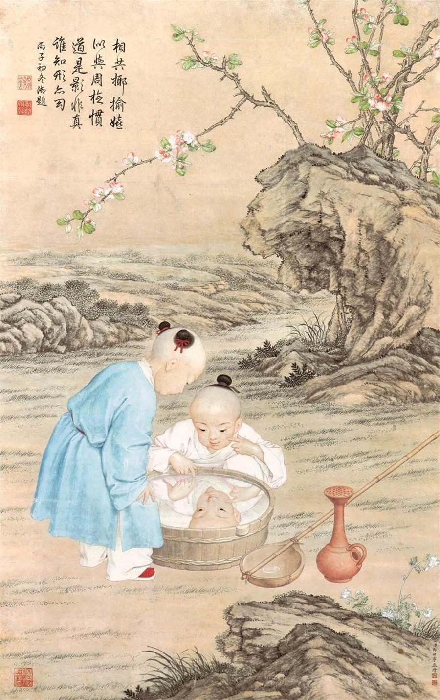 宋氏家族舊藏郎世寧傳世作《照盆孩兒圖》。(圖/帝圖提供)