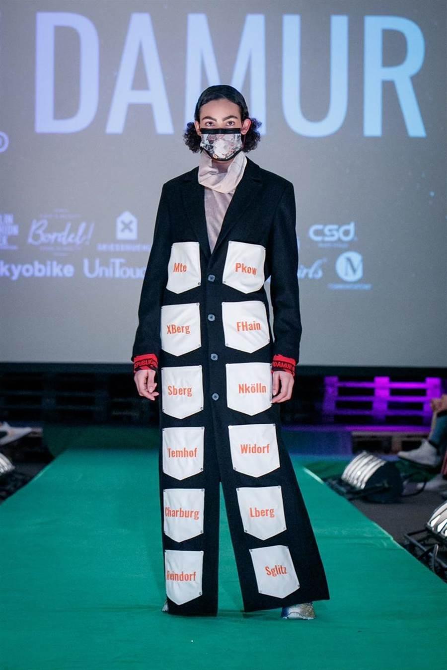 德國柏林時尚週,穿著高端街頭服飾的模特兒搭配彩色口罩出場!圖/中衛口罩