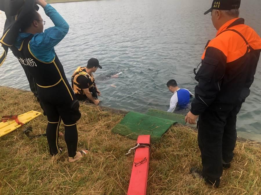 活水湖傳溺水,消防局前往搶救時已死亡。(翻攝圖片/莊哲權台東傳真)