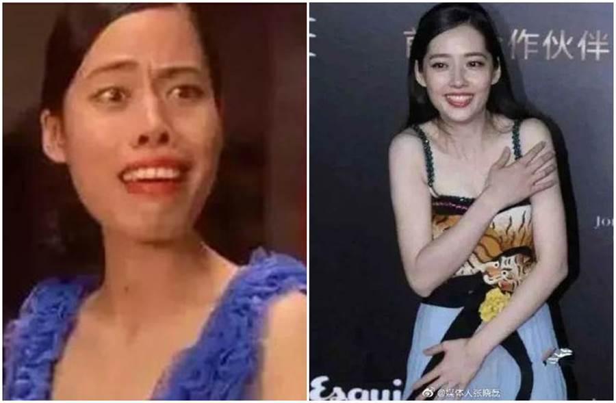 陳凱師在電影《功夫》扮演女丑「齙牙珍」,私下真面目曝光讓網友驚艷。(圖/微博)