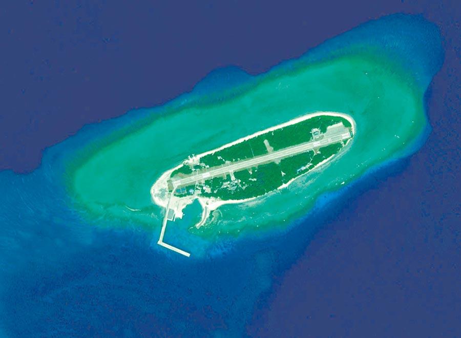 美國或在南海打新牌,圖為南沙太平島空拍照。(本報系資料照片)